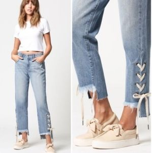 Hidden Jeans Straight Leg with Lace Up Detail